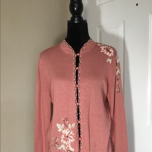 J.JILL PINK FLORAL EMBROIDERED CARDIGAN SWEATER S
